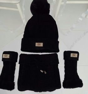 UGG black 3 piece scarf hat and gloves
